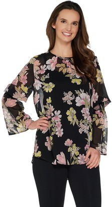 Du Jour Floral Printed Bell Sleeve Woven Blouse w/ Camisole