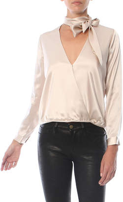Mason by Michelle Mason Wrap Blouse With Tie Neck