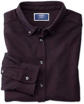 Charles Tyrwhitt Wine Oxford Jersey Cotton Casual Shirt Size Large