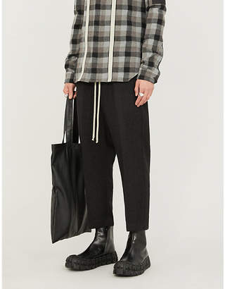 Rick Owens Dropped-crotch cropped tapered wool trousers