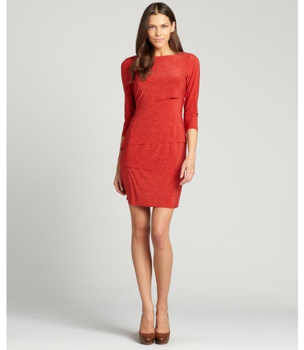 Tahari ASL terracotta stretch jersey three quarter sleeve dress