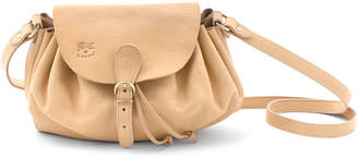 Il Bisonte Ruched Drawstring Leather Crossbody Bag