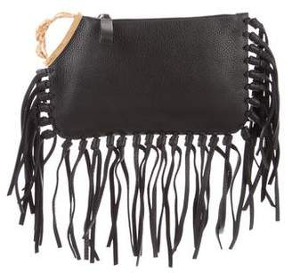 Valentino Leather Fringe Clutch