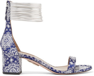 Aquazzura - Spin-me-around Leather-trimmed Printed Twill Sandals - Blue $580 thestylecure.com