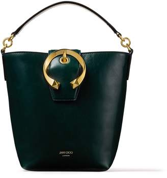 Jimmy Choo MADELINE BUCKET Dark Green Calf Leather Bucket Bag with Metal Buckle
