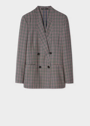 Paul Smith Women's Grey And Pink Check Double-Breasted Wool Blazer