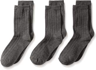 Jefferies Socks Big Boys' Rib Crew Socks (Pack of 3), Charcoal