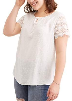 Concepts Women's Plus Lace Sleeve Tee