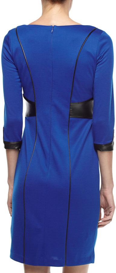 Chetta B Faux-Leather & Ponte Dress, New Royal