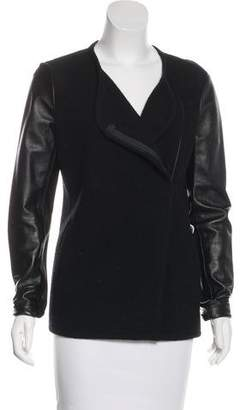Vince Leather-Accented Knit Jacket