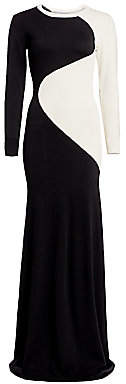 Victor Glemaud Women's Two-Tone Long-Sleeve Knit Wool Column Gown