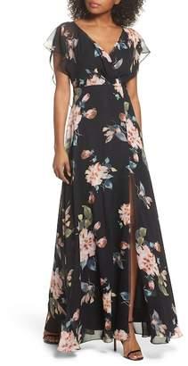 Jenny Yoo Collection Alanna Ohana Print Open Back Print Chiffon Gown