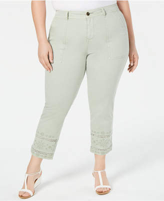Style&Co. Style & Co Plus Size Embroidered Crochet-Trim Pants