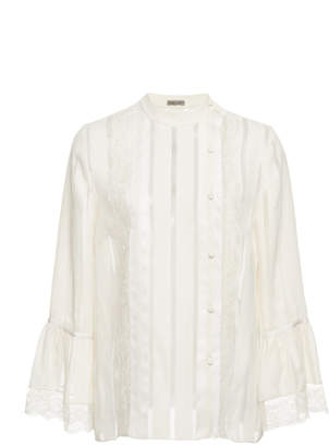 Bottega Veneta Striped Chiffon Blouse with Lace Cuff Details