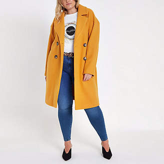 River Island Womens Plus Yellow long double breasted coat