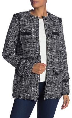 Fate Jacquard Knit Frayed Trim Jacket