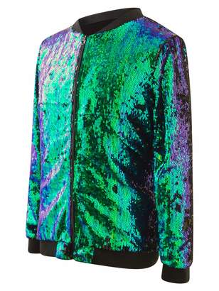 d406b0dc ASVP Shop Sequin Jacket Reversible Color Change Zipper Front Festival  Fashion