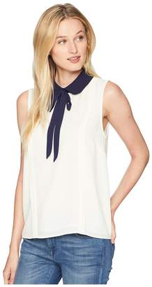 CeCe Sleeveless Collared Blouse with Neck Tie Women's Blouse