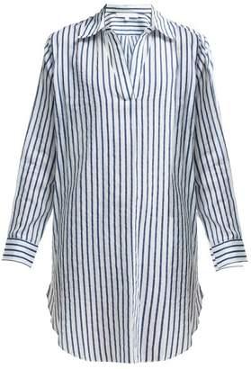 Pour Les Femmes - Striped Cotton Boyfriend Nightshirt - Womens - Blue Stripe