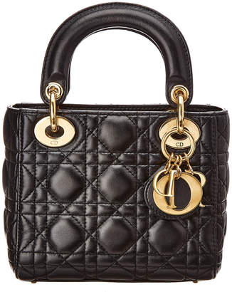 At Rue La Dior Black Lambskin Leather Small Lady