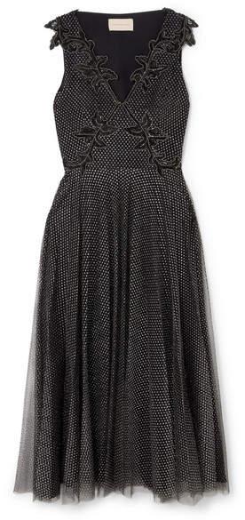 Embellished Metallic Point D'esprit Tulle Midi Dress - Black