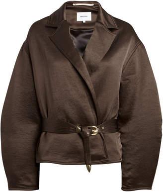 Nanushka Mantra Belted Satin Jacket