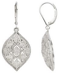 1/7 Carat Diamond Sterling Silver Leverback Earrings