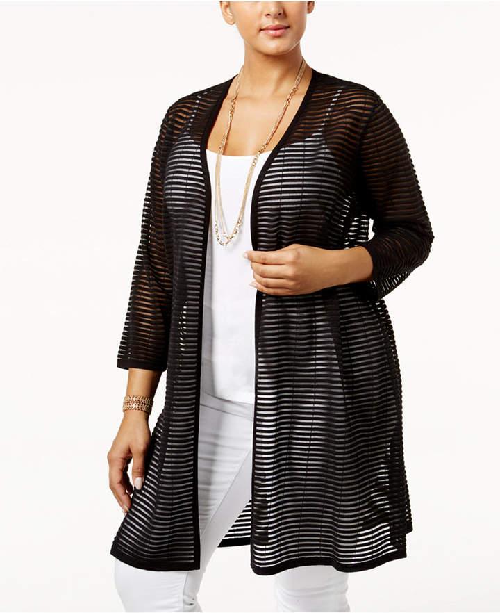 AlfaniAlfani Plus Size Sheer-Stripe Open-Front Cardigan, Only at Macy's