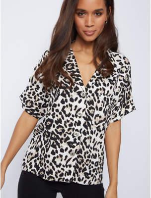 George Leopard Print Button-Down Blouse