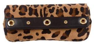 St. John Leather-Trimmed Ponyhair Clutch