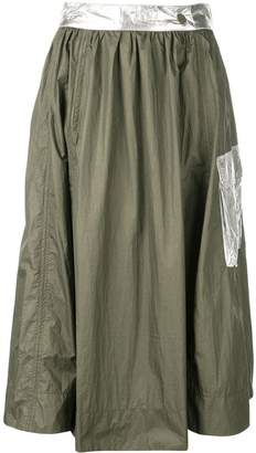 Ganni metallic patch skirt