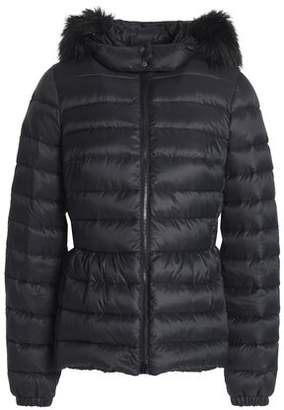 RED Valentino Faux Fur-Trimmed Quilted Shell Hooded Jacket