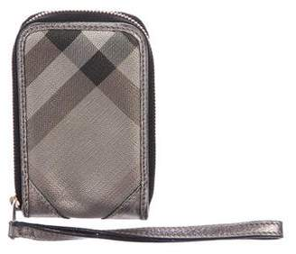 Burberry Leather-Trimmed Smoke Check Phone Case
