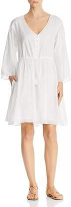 ATM Anthony Thomas Melillo Crinkle Cotton V-Neck Dress