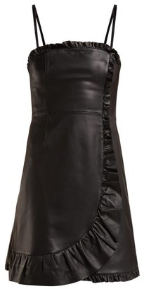 ALEXACHUNG Ruffle Trimmed Leather Mini Dress - Womens - Black