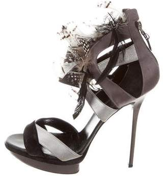 Diego Dolcini Leather Feather Sandals