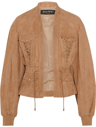 Balmain - Lace-up Suede Jacket - Sand $4,880 thestylecure.com