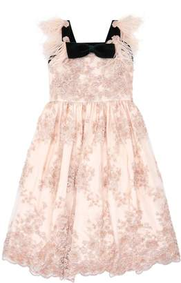 Aristocrat Kids Feather Trim Lace Dress