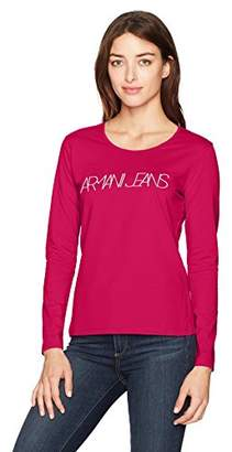 Armani Jeans Women's Red Long Sleeve Graphic Tshirt