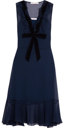 See by Chloé - Velvet-trimmed Ruffled Chiffon Dress - Navy $495 thestylecure.com