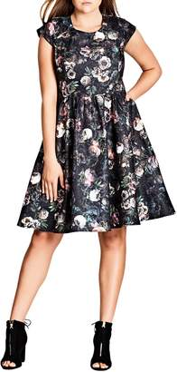 City Chic Vintage Peony Fit & Flare Dress