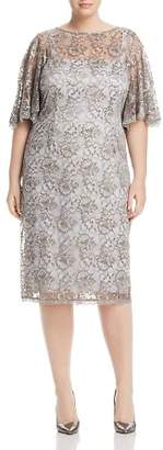 Adrianna Papell Plus Lace Flutter-Sleeve Dress