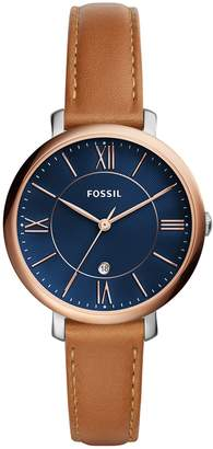 Fossil Women's 'Jacqueline' Quartz Stainless Steel and Leather Casual Watch, Color (Model: ES4274)