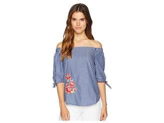 Kensie Chalk Stripe Embroidered Off the Shoulder Top KS7U4728 Women's Clothing