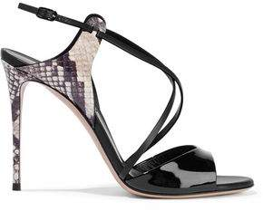 Casadei Snake-Effect Smooth And Patent-Leather Sandals