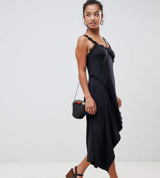 Asos DESIGN Petite lace insert slinky slip dress