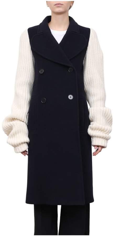 Knit Sleeves Wool Coat