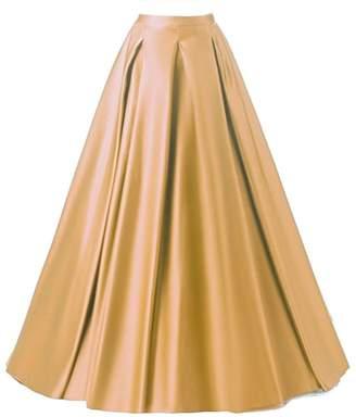 PROMLINK Women's High Waist A-Line Skirt Satin Long Prom Evening Dress with Pockets