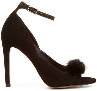 Donald J Pliner GHANA, Kid Suede and Mink Fur Peep-Toe Pump