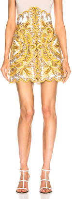 Zimmermann Zippy Scallop Skirt in Golden Paisley   FWRD